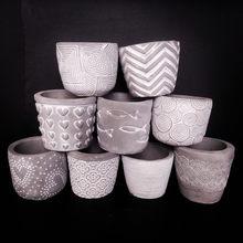 Varios pequeños moldes de silicona hechos a mano para macetas de cemento, Cuadrado redondo, estilo de piedra, jardinería, molde de maceta de hormigón