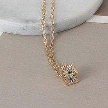 Fashion love cube three-dimensional necklace joker small block short clavicle chain wholesale
