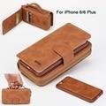 3 em 1 Portátil Luxo Aleta De Couro PU Zip Carteira Sacos de Telefone caso Para Apple iPhone 6 6 S Plus Com Cartão/Dinheiro Slot Strap 2016 nova