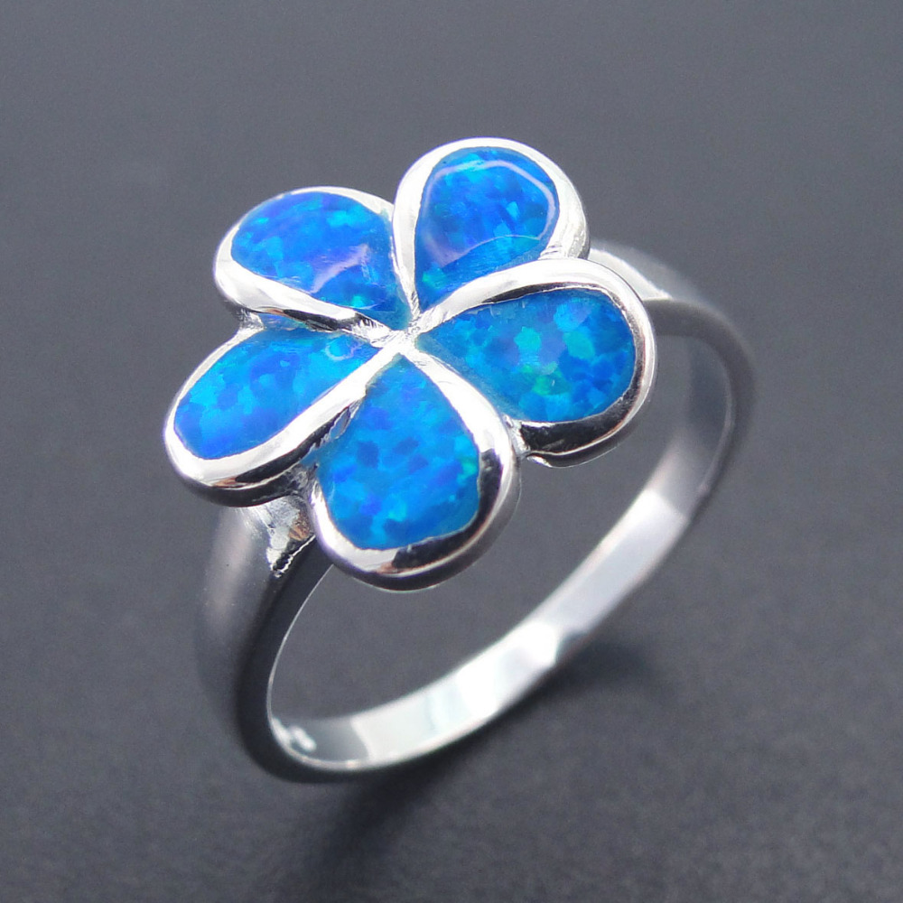 Fashion Jewelry Blue Opal Ring for Women 100% 925 Sterling ...