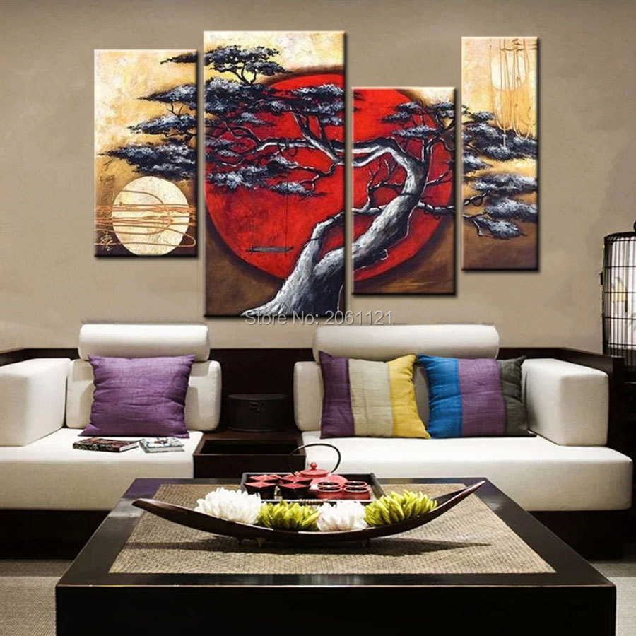 hand painted group canvas oil painting japanese style sunset tree landscape wall pictures modern home decoration pieces cheap