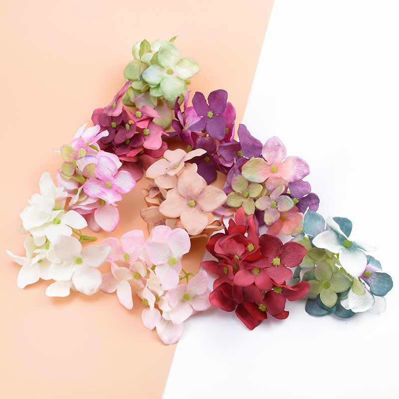 3 piezas de seda Hortensia cabeza flor Pared de Navidad decoración del hogar Accesorios nupciales liquidación boda arco barato plantas artificiales