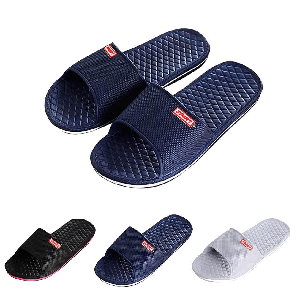 UK Men's Shower Slipper Stripe Flat Bath Summer Sandals Indoor Outdoor Slippers