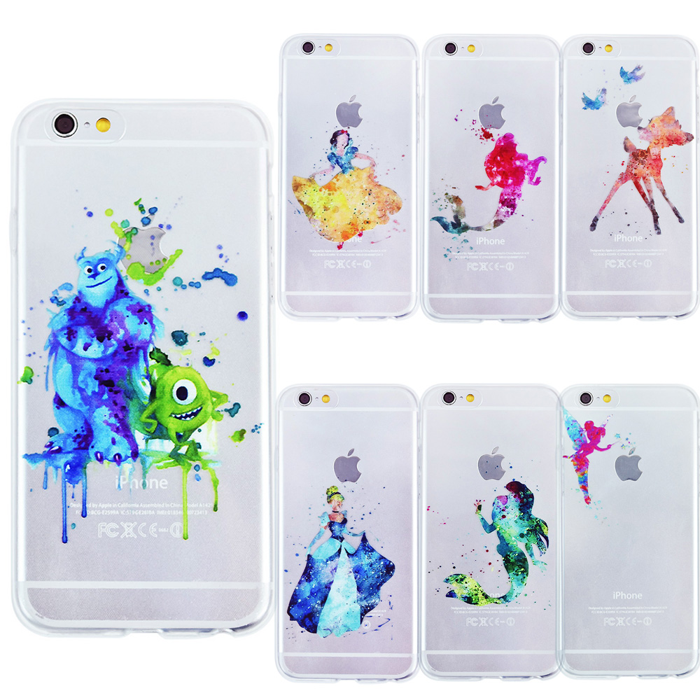OWNEST Cartoon Animal Kiss Mickey Minnie Mouse Soft Clear TPU Case for iPhone 7 7 Plus 5 5S 6 6s Ariel little Mermaid watercolor