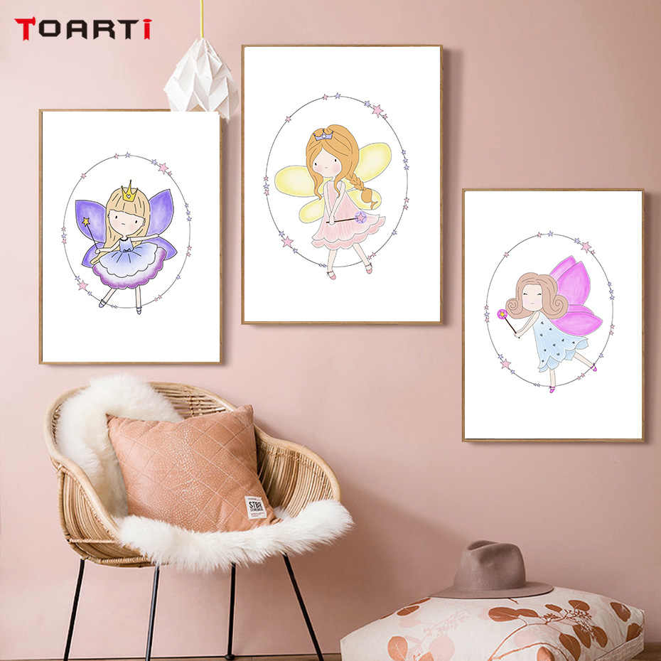 nordic Fairy girls Wall Art Canvas Painting Picture Watercolor cute baby Kids Room Posters And Prints For Child Gift Home Decor