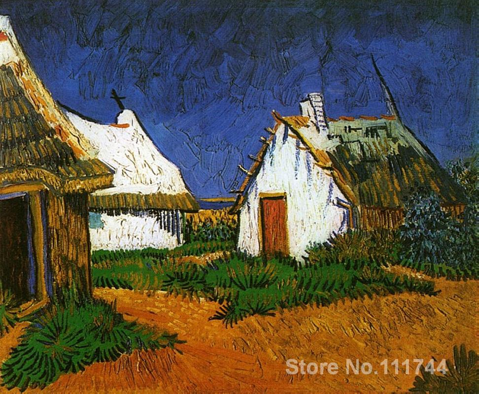 Paintings by Vincent Van Gogh Three White Cottages in Saintes Maries Hand painted art on canvas High qualityPaintings by Vincent Van Gogh Three White Cottages in Saintes Maries Hand painted art on canvas High quality