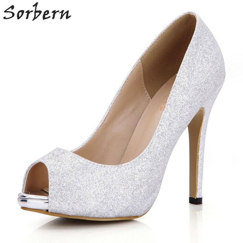 Ayakk.'ten Kadın Pompaları'de Sorbern gümüş parıltılı Kadınlar Pompa Yüksek Topuklu Altın Ayakkabı Topuklu gelin ayakkabıları Topuklu Platformu Burnu açık bağcıksız ayakkabı Kadın Pompa Diy'da  Grup 1