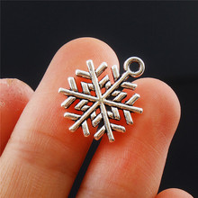 Jewelry diy hand made 10pcs snowflake Tibetan Silver Bead charms Pendants fit bracelet necklace earrings key ring making 20x15mm