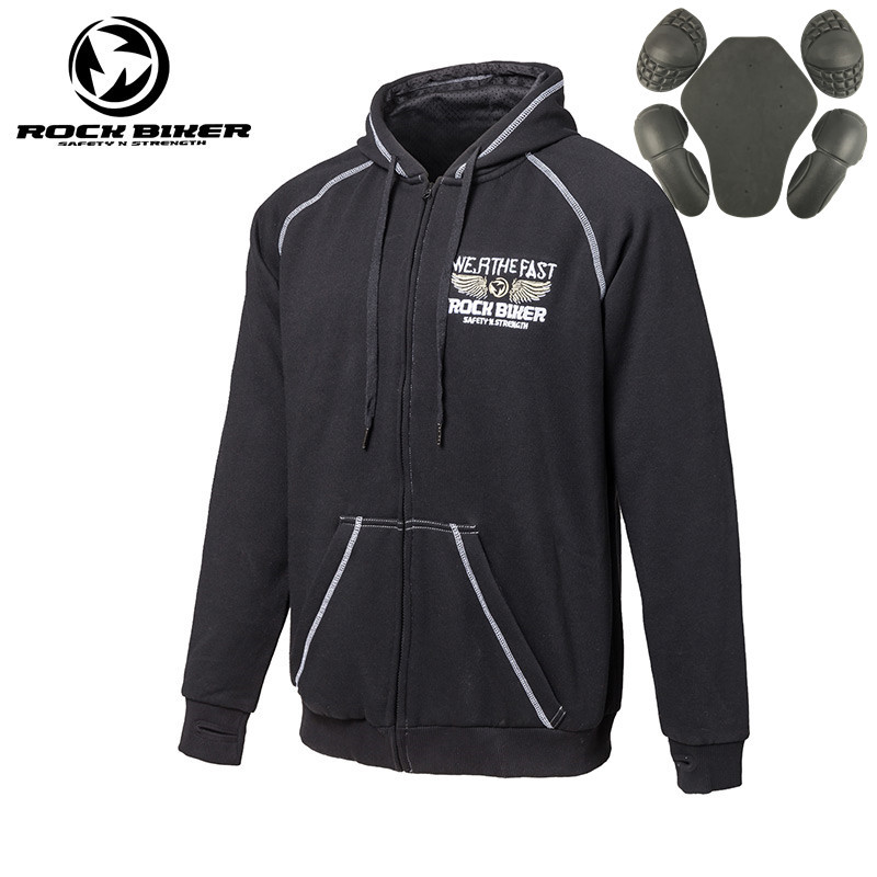 ROCK BIKER Motorcycle Jackets Mens Sweater Warm Cotton Casual Wear Hoodies Detachable Protective Gear 5 PCS