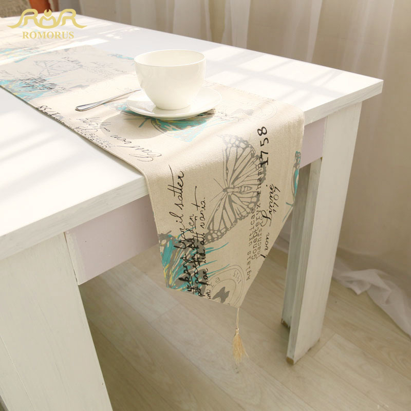 Romorus Hot Butterfly Printed Printed Table Runner Cotton Linen Decorative Tea Tea Coffee