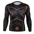 X-Men Quick Dry Сетки Вентиляция 3D Печати Супергероя майка Упражнение Рубашка С Длинным Рукавом Плотно Прилегающие Прокат Джерси