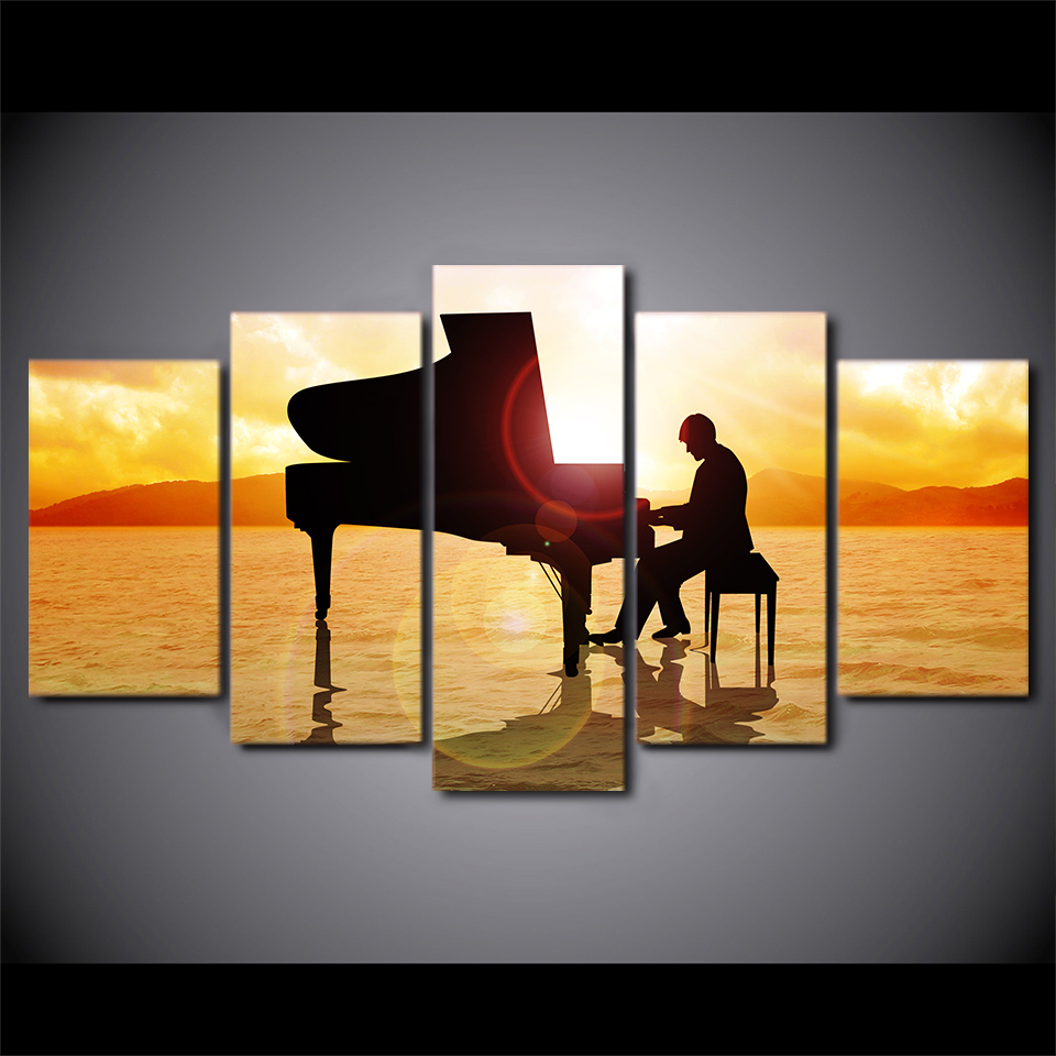 Canvas Printed Poster Home Decor 5 Pieces Prince Plays Music Piano In Sunset Beach Sea Painting Modular Wall Art Pictures Frame in Painting Calligraphy from Home Garden