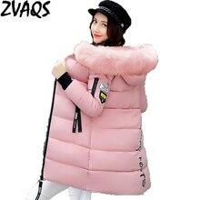 Новинка, зимняя женская куртка, хлопковое пальто, меховой воротник, капюшон, парка, женские длинные куртки, Толстая теплая верхняя одежда, chaqueta mujer ST157