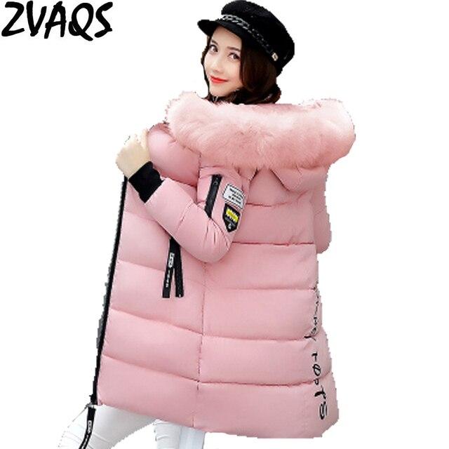 New 2017 Winter Jacket Women Cotton Coat Fur Collar Hood Parka Female Long Jackets Thick Warm Outerwear chaqueta mujer ST157
