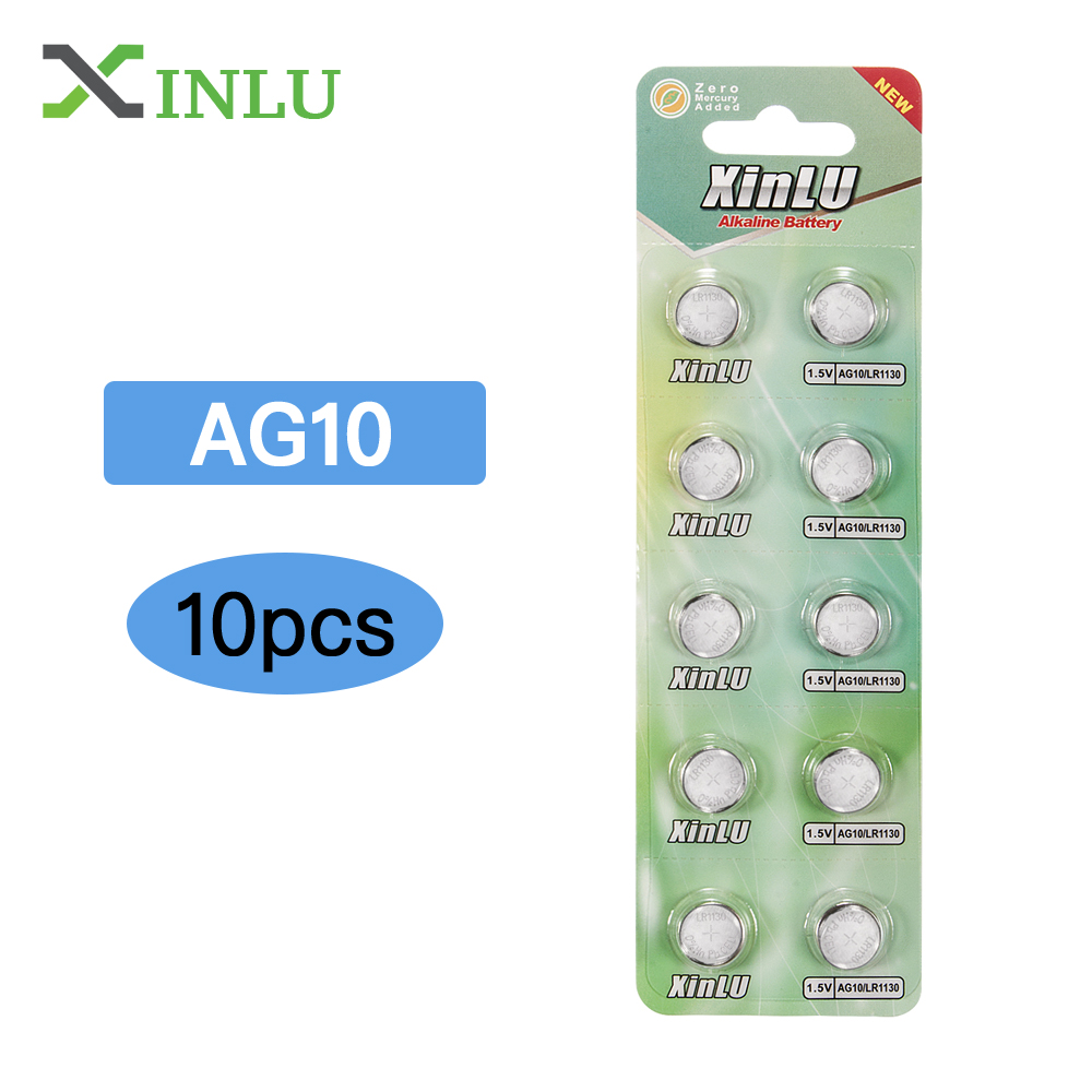 10Pcs AG10 G10A SR1130 LR1130 390A D189 LR54 Alkaline Button Cell Coin Battery ,XINLU Battery10Pcs AG10 G10A SR1130 LR1130 390A D189 LR54 Alkaline Button Cell Coin Battery ,XINLU Battery