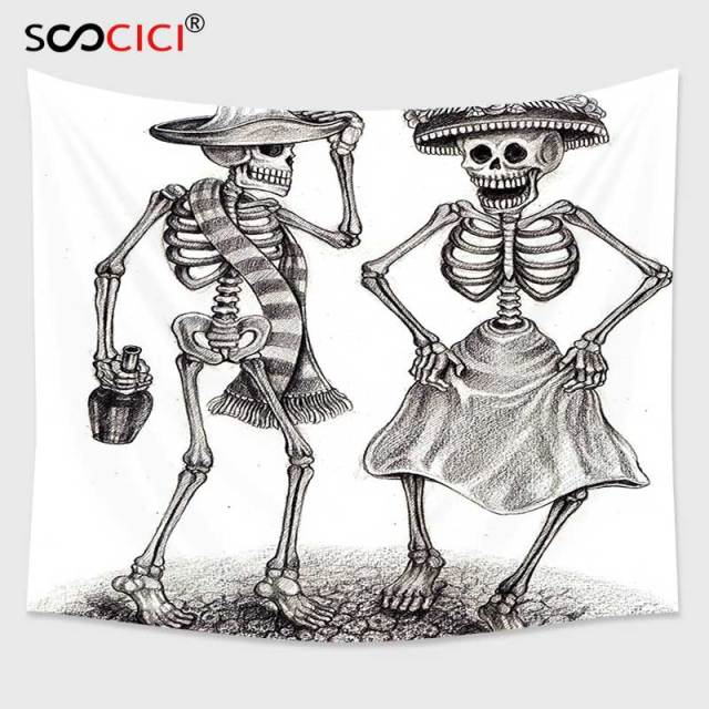 Cutom Tapestry Wall HangingDay Of The Dead Decor Festive Celebration Mexican Dancing Couple Skeleton