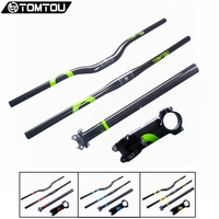 Tomtou 3K Carbon Fiber Mountain Bicycle Handlebar Stem Seatpost Cycling MTB Handlebar Sets Part Green