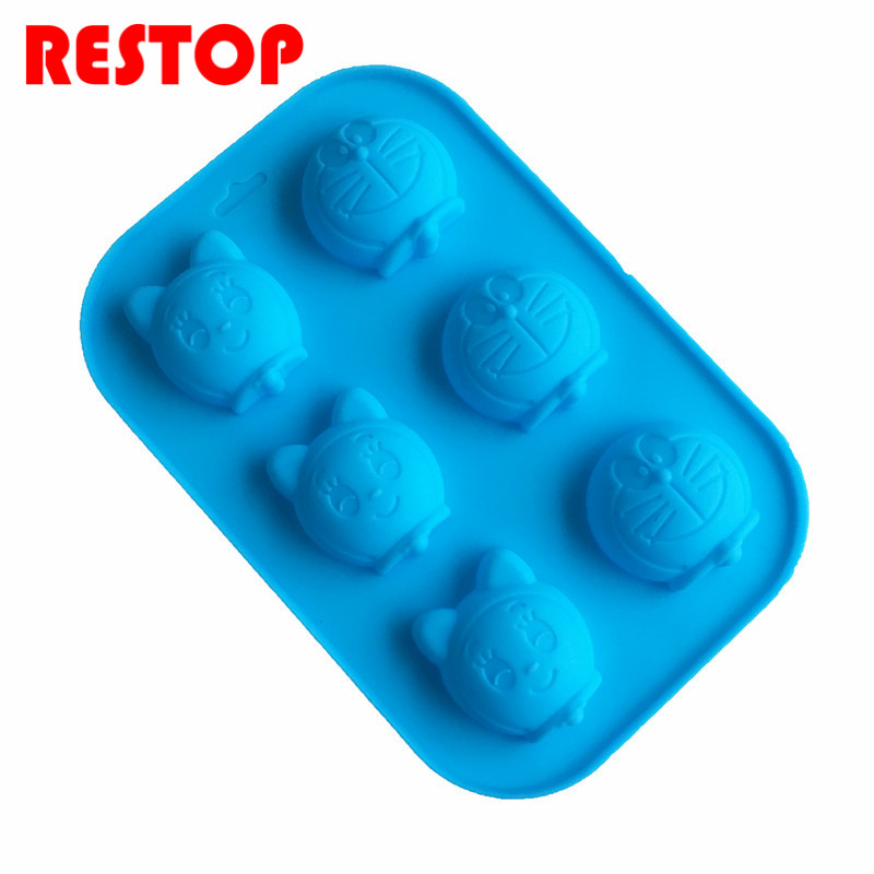 4&6&16 grid Doraemon mold silicone chocolate mould confeitaria fondant mold silicone soap mold baking mold decoration RES780