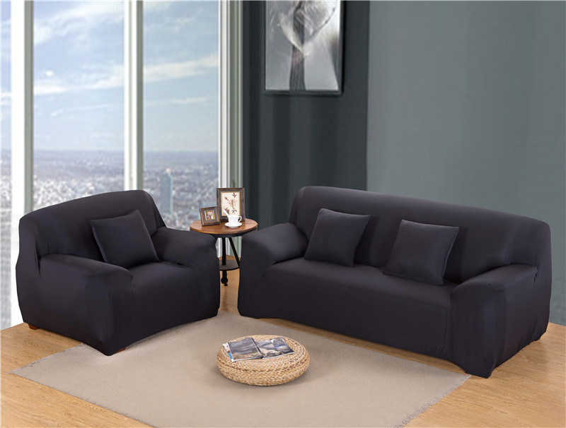 Solid Color Elastic Couch Cover made of Stretchable Material for Singe to 4 Seated Sofa in Living Room 15