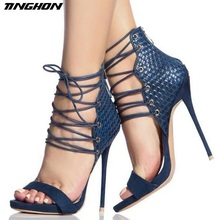 TINGHON  New Sexy Classics Women Sandals Style Strappy 11.5CM High Heel Gladiator Stilettos Shoes
