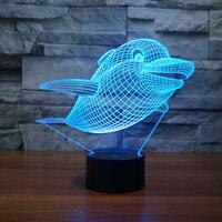 Dolphin 3D Night Light Mini USB LEd Night Light For Bedroom .Novelty gifts for Children