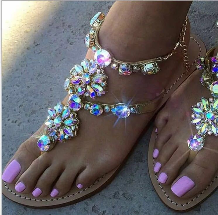 XingDeng Women Bohemia Crystal Stone T Strap Flat Sandals Shoes Ladies Party Colorful Chain Summer Sexy Sandal Shoes 36-43 Size