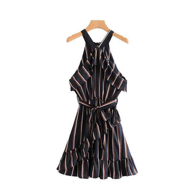 Women Striped Mini Dress...