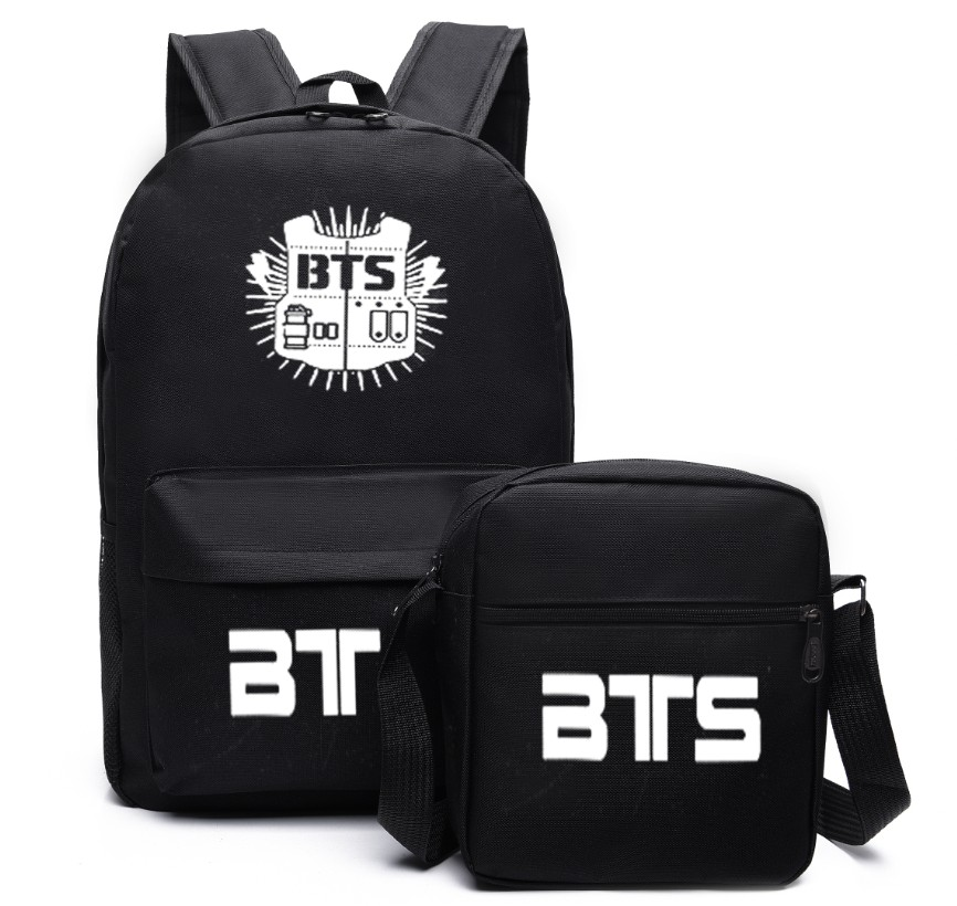 2017 Fashion School Bags 2 Pcs/lot Bangtan Boys Backpack BTS Black Crossbody Bag Men's Bag Notebook Backpack Women's School Bags sosw fashion anime theme death note cosplay notebook new school large writing journal 20 5cm 14 5cm