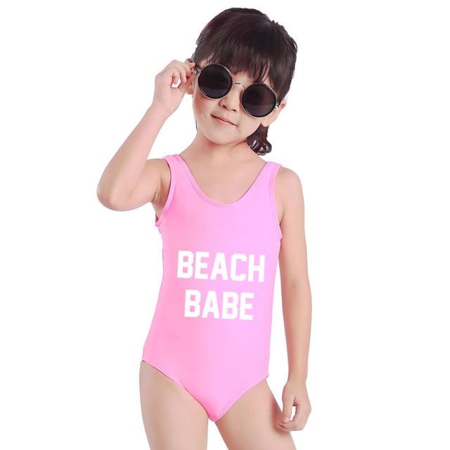 9474d39496 Baby Girls Swimwear One Piece Swimsuit BEACH BABE Letter Print Monokini Sexy  Bodysuit Kids Beachwear Child Bathing Suit(S04)