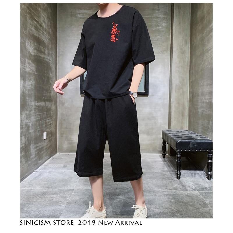 Sinicism Store 2020 Summer Men's Set Cotton Linen Chinese Style 2 Piece Set Track Suit  Casual Clothes Male Black Tracksuit 5XL