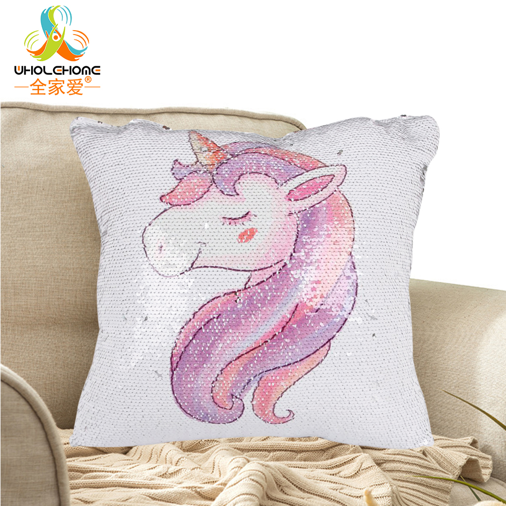 DIY Sequins Unicorn Throw Pillow Cases 40*40cm Color Changing Reversible Cushion Cover Magical Mermaid Sequin Pillow Cover Decor