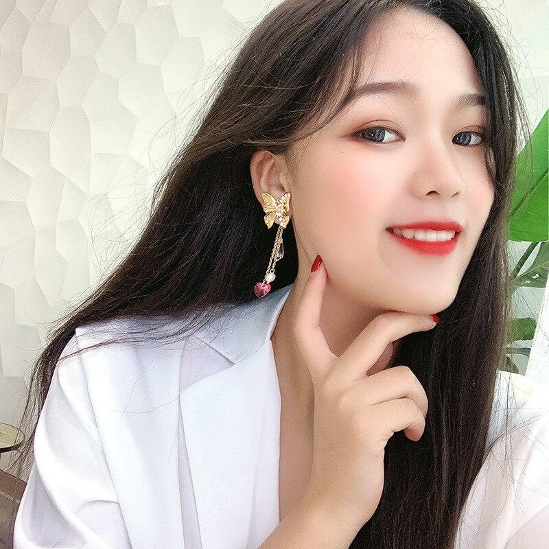 DREJEW Butterfly Long Tassel Rhinestone Statement Earrings 2019 925 Alloy Drop Earrings for Women Wedding Fashion Jewelry HE0641 in Drop Earrings from Jewelry Accessories