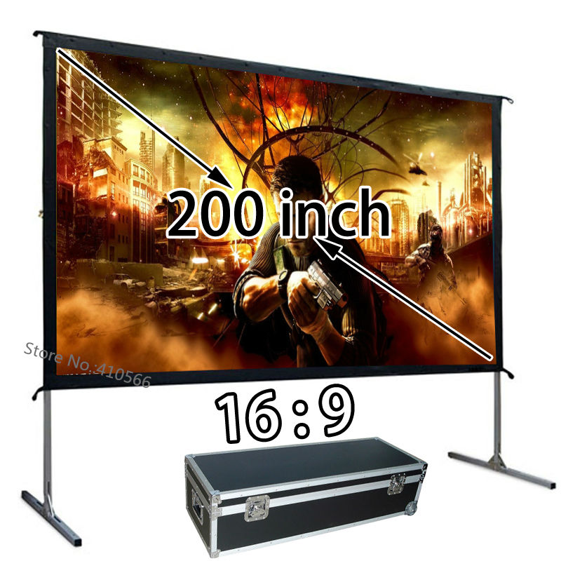 Pantalla de proyección de proyector HD barata de 200 pulgadas 169 Instalación rápida pantallas de cine al aire libre para conferencias escolares, venta al por mayor
