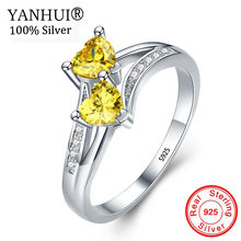 YANHUI Women Gift of Love 100% 925 Sterling Silver Double Heart Yellow Cubic Zircon Rings for ...