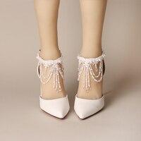 2017 White Crystal Wrist Strap Buty Ślubne Wysokie z Grzywny z Baotou Tassel Ślub Panny Młodej Buty dla Obuwia Damskiego sandały