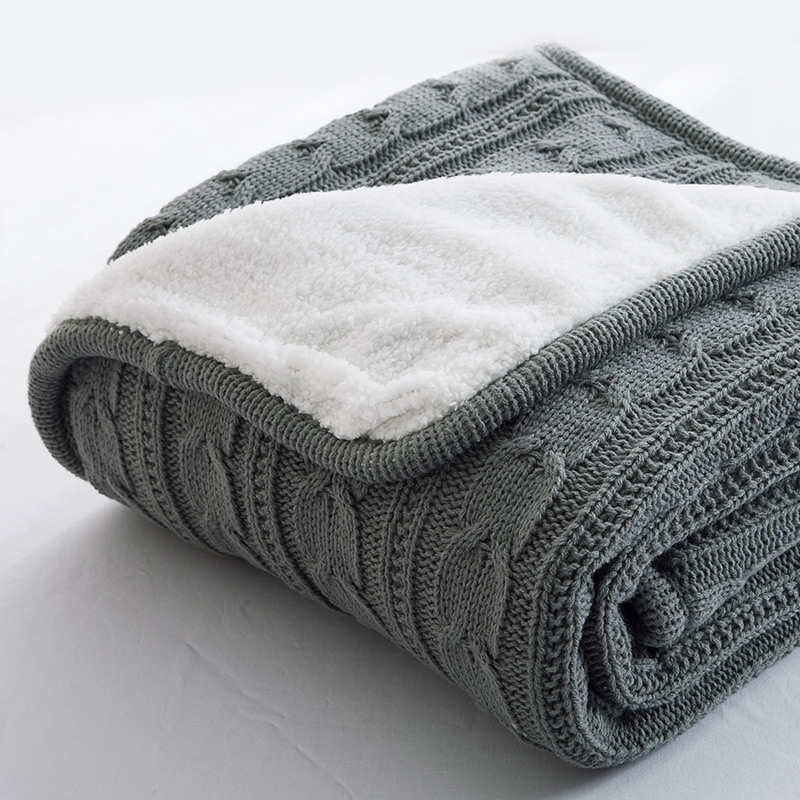 Papa&Mima Solid color gray Knitted Cotton Throws Blankets  soft Double face Bedsheets Faux Cashmere Fiber