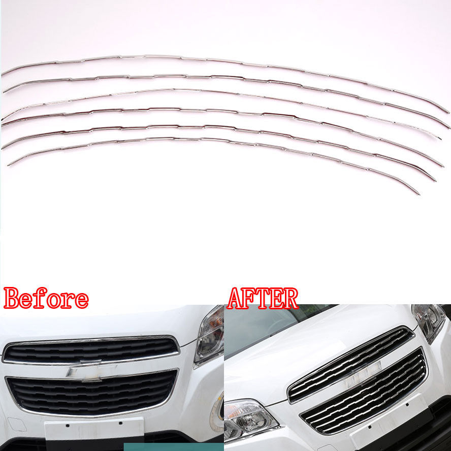 Stainless Steel Front Grill Grille Cover Trim Grid Kit Insert Car Styling Sticker For Chevys Chevrolet TRAX 2014 Car Accessories bjmycyy 2 pcs car styling stainless steel small speaker circle patch stickers cover casw for chevrolet trax 2014 accessories