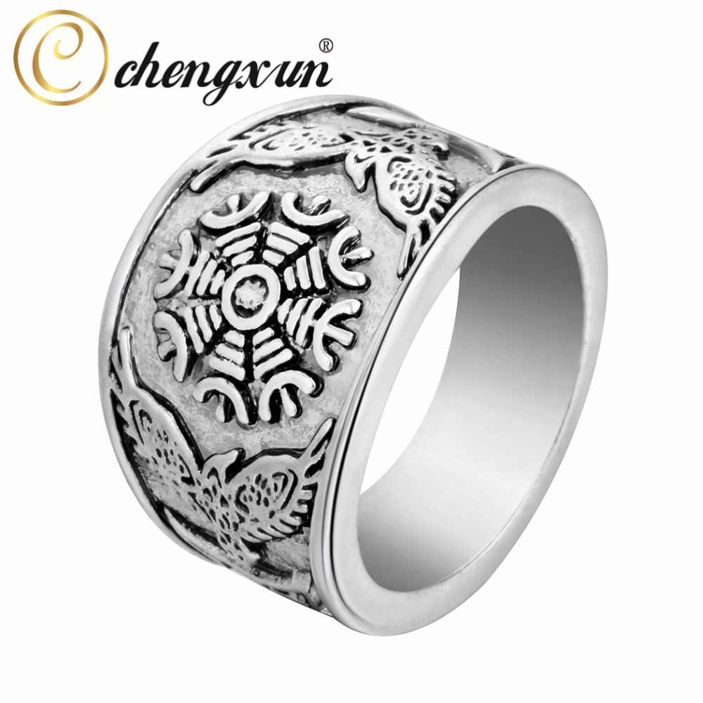 CHENGXUN Odin Viking Oden's Ravens & Helm of Awe Ring Mens Wedding Band Jewelry Biker Round Big Size 2017 Fashion
