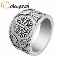 CHENGXUN Odin Viking Oden's Ravens & Helm of Awe Ring Mens Wedding Band Jewelry Biker Round Big Size 2017 Fashion(China)