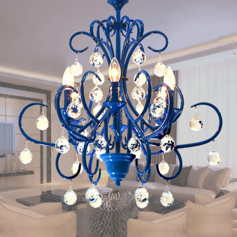 Salon Shopwindow Mission Style Blue Candle Chandelier Living Room Bedroom Dining Luminaire Arts Crafts Lights Lighting
