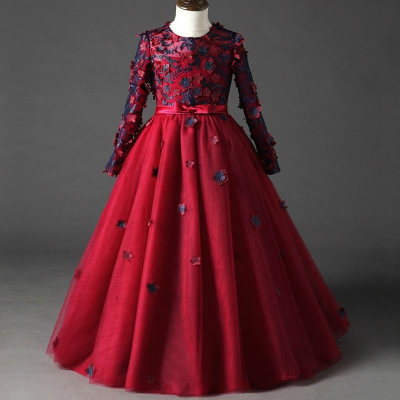 POSH DREAM Princess Burgundy Flower Girls Wedding Dresses Girl Evening Dress Long Sleeve Autumn Winter Children Wedding Dress все цены