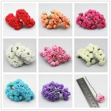 144pcs 2cm Small Roses Artificial Flowers Home Wedding Car Decoration Fake Rose Scrapbooking Bouquet