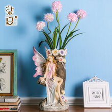 Europe resin creative angel flowers vase statue home decor girls fairy crafts room decoration garden pot figurines