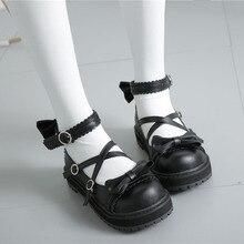 Japanese sweet lolita shoes cute bowknot low heel round head women shoes kawaii girl sweet lolita cosplay shoes loli cos sweet shoes f20 ks1807