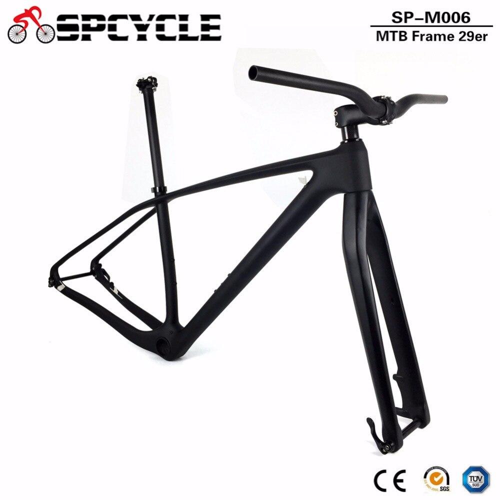 T1000 Full Carbon Fiber MTB Bike Framesets, 27.5er 29er MTB Mountain Bicycle Carbon Frame+Fork+Seatpost+Handlebar+Stem PF30