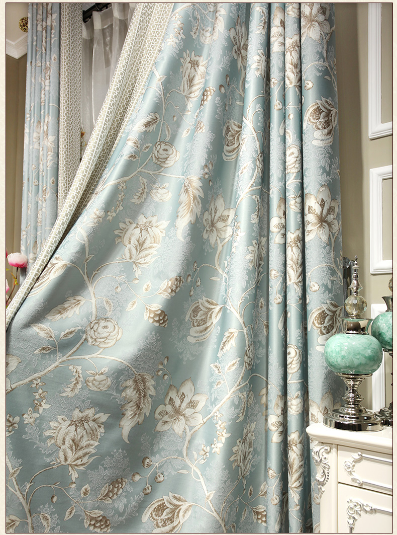 Noble Jacquard Printed Curtains Gold Blue Luxury Kitchen Curtains ...