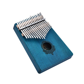 17 Keys African Mahogany Wood Finger Piano Blue Mbira Portable Keyboard Thumb Piano Finger Percussion Instrument With Pickup
