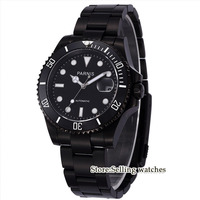 Парнис наручные часы MIYOTA автоматическое перемещение Для мужчин t 40 мм PVD Дело Черный Циферблат Световой сапфировое стекло керамический обод