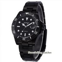 Parnis wrist watch MIYOTA Automatic movement 40mm PVD CASE black dial luminous Sapphire glass ceramic bezel Men's watch men