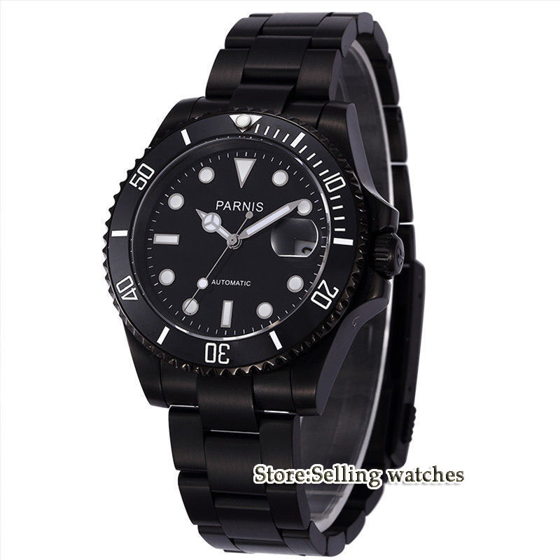 Parnis wrist watch MIYOTA Automatic movement 40mm PVD CASE black dial luminous Sapphire glass ceramic bezel Men's watch men 40mm parnis black dial ceramic bezel pvd case luminous vintage sapphire automatic movement mens watch p145